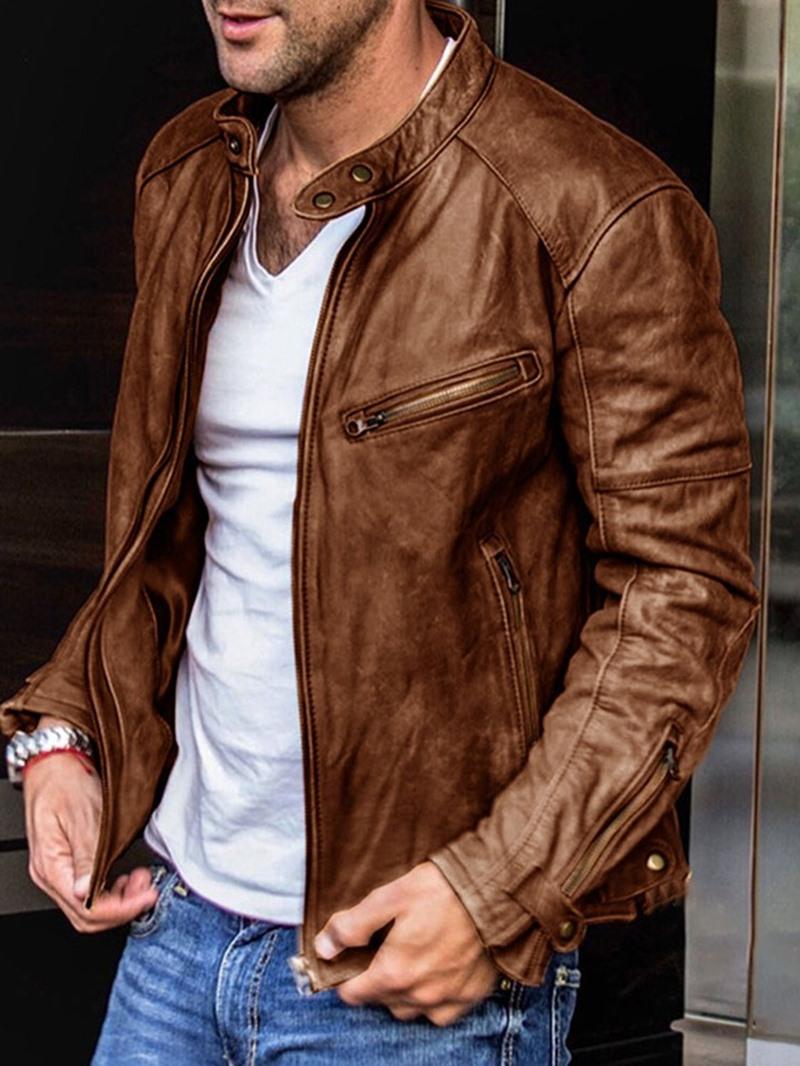 Ericdress Mid-Length Stand Collar Plain Fall European Leather Jacket