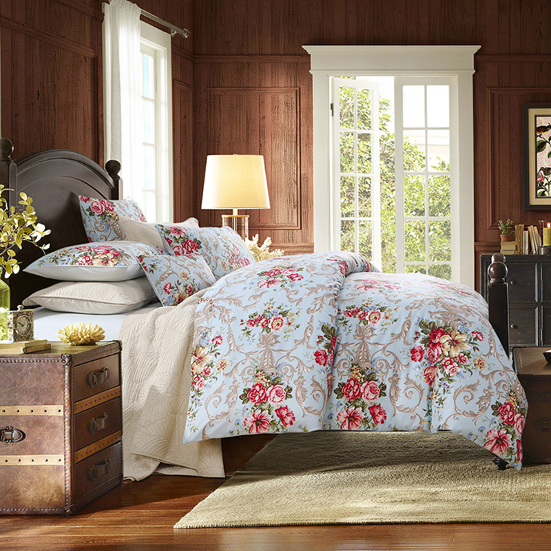 Floral Duvet Cover Set Four-Piece Set 2 Pillowcases Fitted Sheet Reactive Printing Polyester Bedding Sets
