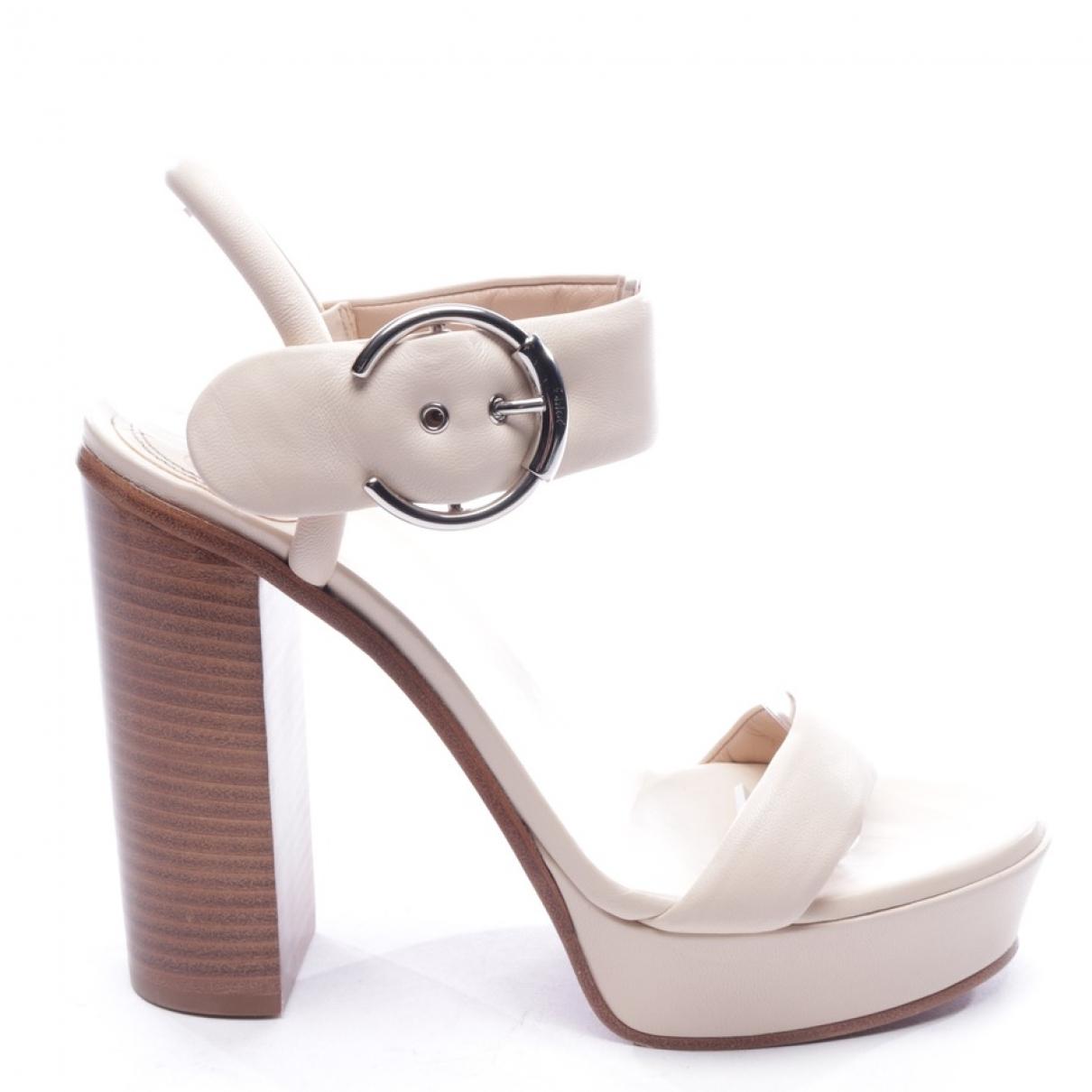 Chloe - Sandales   pour femme en cuir - blanc