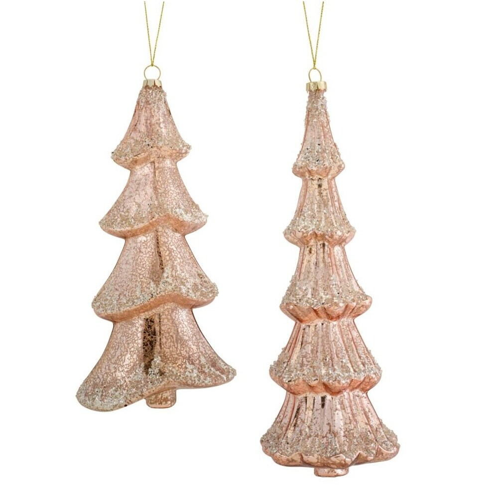 Set of 6 Glitter Drenched Brown Tree Christmas Ornaments 11 (Brown - Glass)