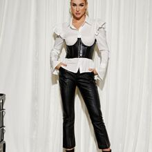 Hook and Eye PU Leather Corset Top