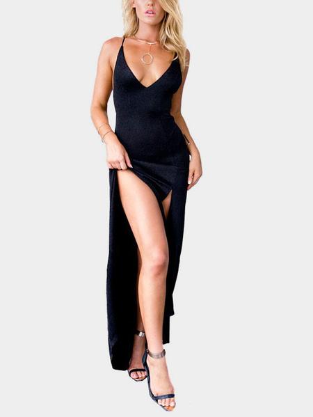Yoins Black Low Cut V-neck Front Splits Maxi Dress