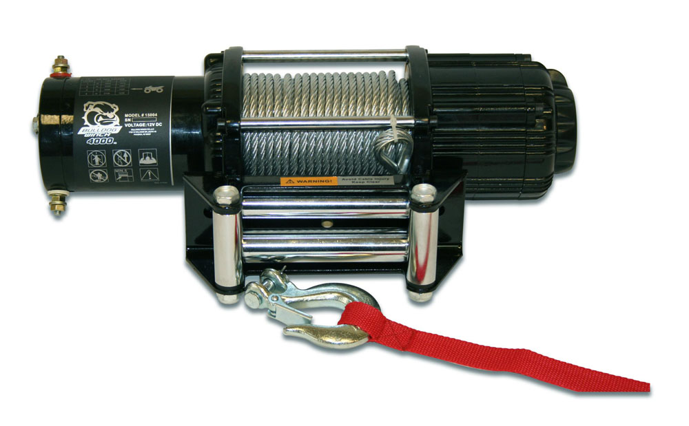 Bulldog Winch 15004 4,000 LB UTV Winch 55 Ft Wire Rope Two Switches Mounting Channel Roller Fairlead