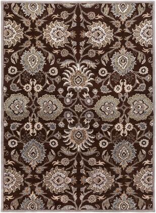Caesar CAE-1063 8' x 11' Rectangle Traditional Rug in Dark Brown  Taupe  Khaki  Medium Grey