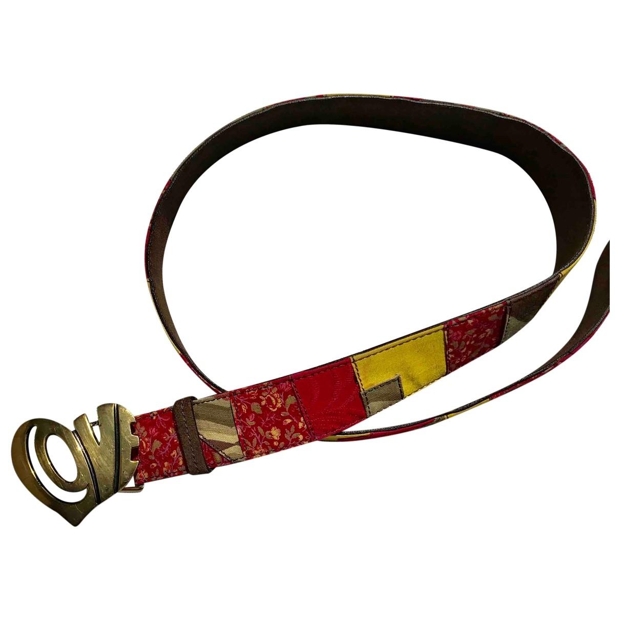 Non Signé / Unsigned Hippie Chic Multicolour Leather belt for Women 95 cm