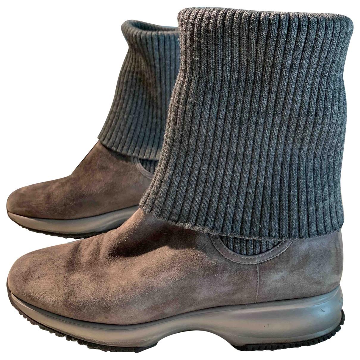 Hogan - Boots   pour femme en suede - anthracite