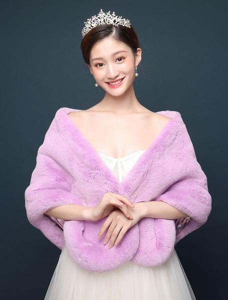 Milanoo Faux Fur Stole Purple Wedding Wrap chal chaqueta nupcial cubierta ups