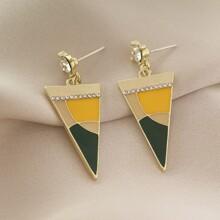 Rhinestone Triangle Drop Earrings