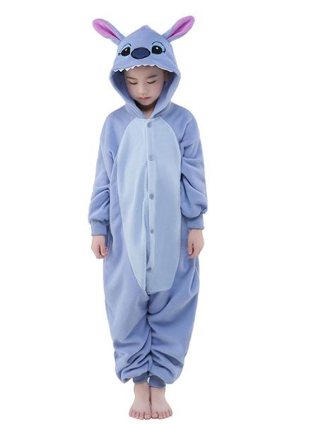 Milanoo Disfraz Halloween Pijama Kigurumi puntada mono para niños azul sintetico mono Navidad traje de mascota Halloween