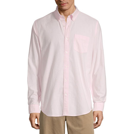 St. John's Bay Stretch Mens Long Sleeve Button-Down Shirt, Large , Pink