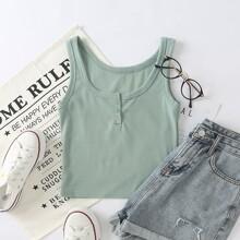 Solid Button Rib-Knit Tank Top