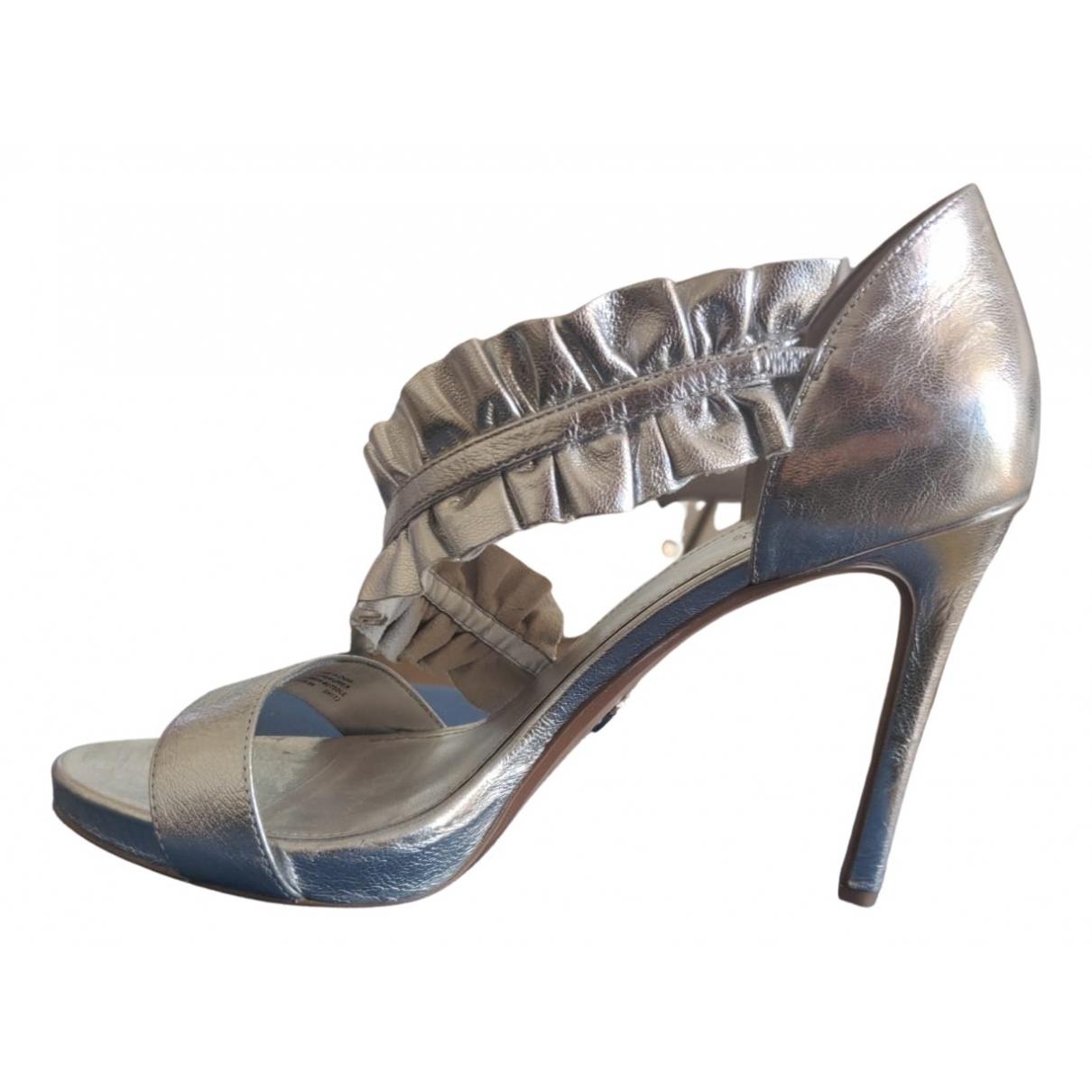 Michael Kors - Sandales   pour femme en cuir - argente