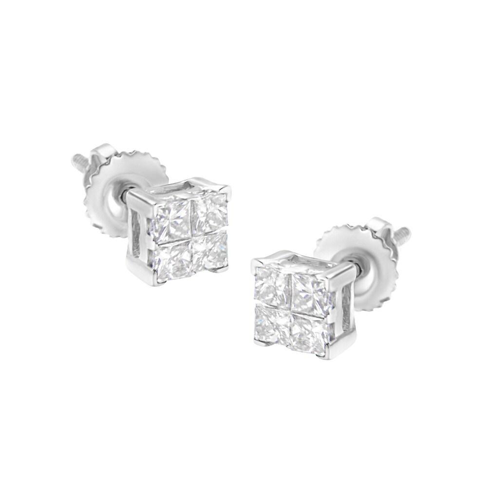 10K White Gold 1/2 cttw Princess-cut Diamond 4 Stone Composite Quad Stud Earring (H-I Color, I1-I2 Clarity) (White - White)