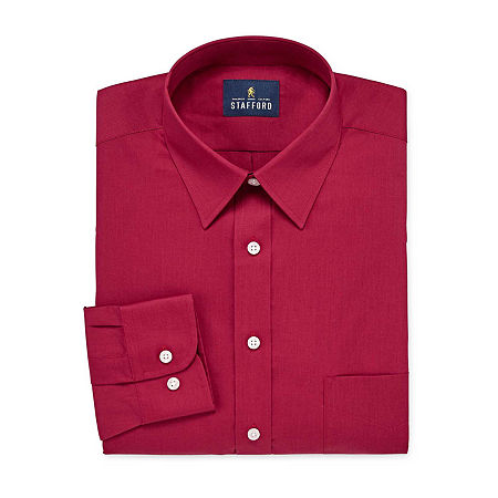 Stafford Mens Wrinkle Free Stain Resistant Stretch Super Dress Shirt, 18 34-35, Red