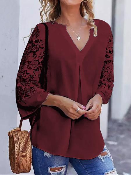 Yoins Lace Patchwork Design V Neck Long Sleeves Blouse