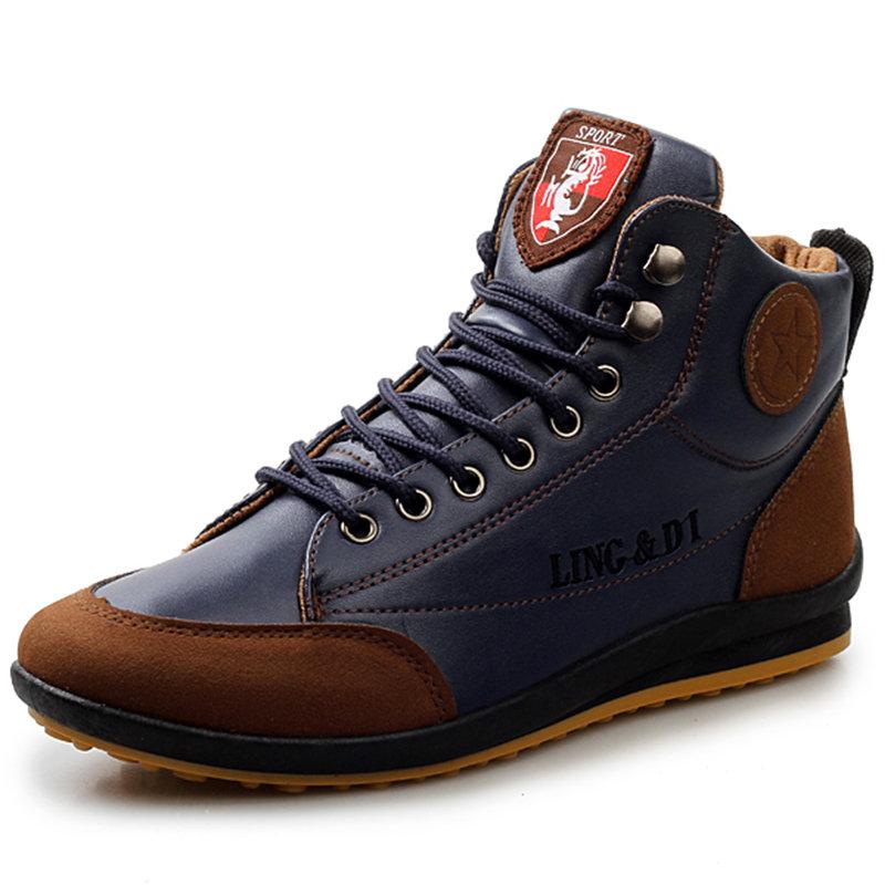 Men Retro PU Leather Splicing Non Slip Casual Ankle Boots