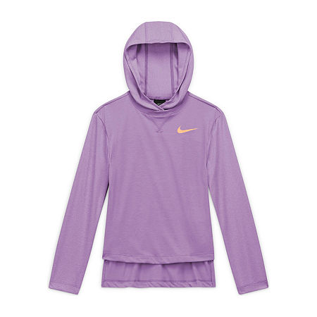 Nike Big Girls Round Neck Long Sleeve T-Shirt, Medium , Purple