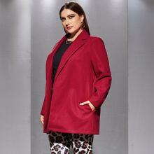 Plus Tweed Solid Open Front Blazer