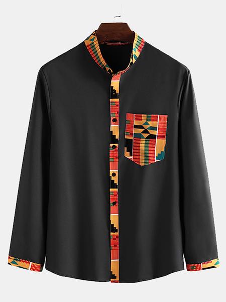 Yoins INCERUN Men Ethnic Style Geometric Print Long Sleeve Button Up Shirt