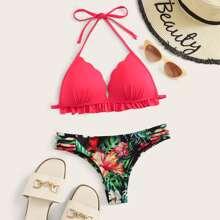 Dreieck Random Tropical Frill Trim Bikini