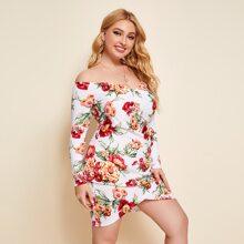 Plus Off Shoulder Floral Print Wrap Hem Dress