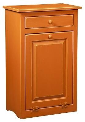 465213BO 22 Trash Bin with 1 Door  1 Drawer  Simple Knobs and Premium Grade Pine Wood Construction in Burnt Orange