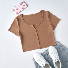 Notched Neck Ribbed Crop Tee