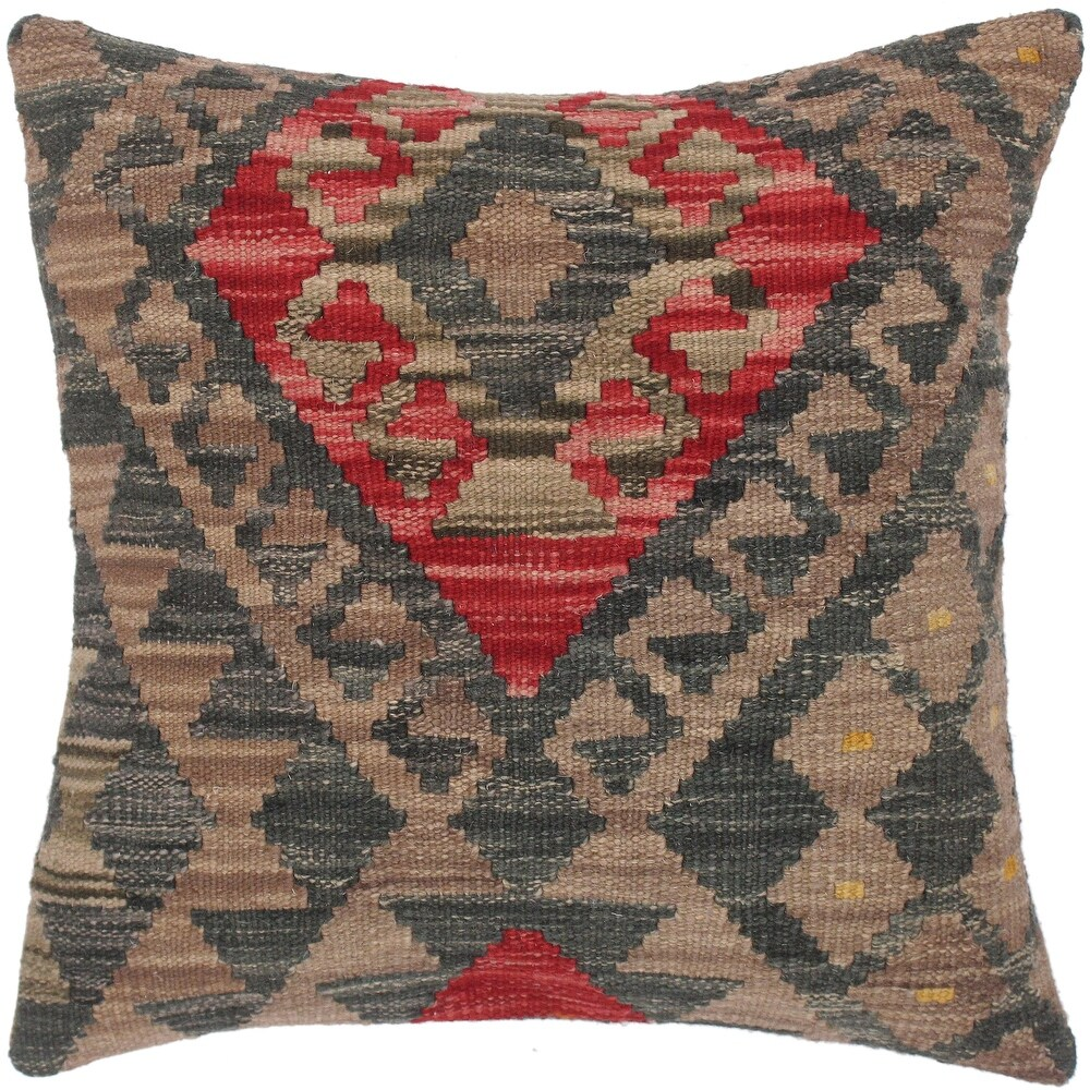 Rustic Susana Hand-Woven Turkish Kilim Pillow -18 in. x 18 in. (Polyester - 18 in. x 18 in. - Accent - Red - Single)