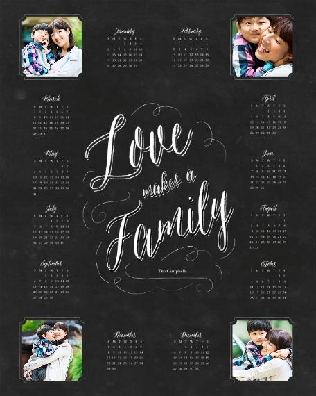 Calendar 16x20 Poster, Home Décor -Family Chalkboard