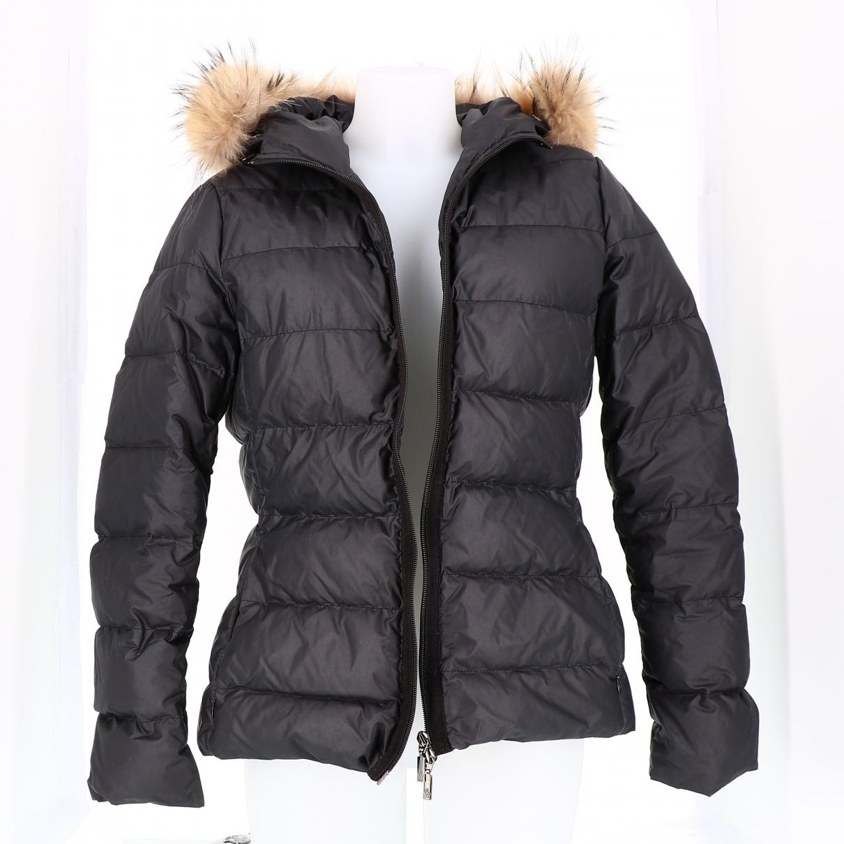 Moncler Fur Hood Maentel in  Blau Polyester