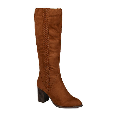 Journee Collection Womens Gentri Boots Stacked Heel Over the Knee, 7 1/2 Medium, Brown