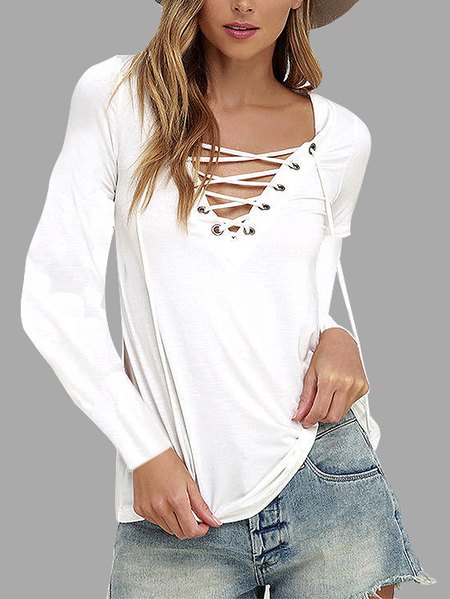Yoins White Casual V-neck Lace-up Design Long sleeves T-shirts