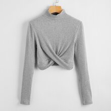 Mock Neck Rib-knit Cross Wrap Tee