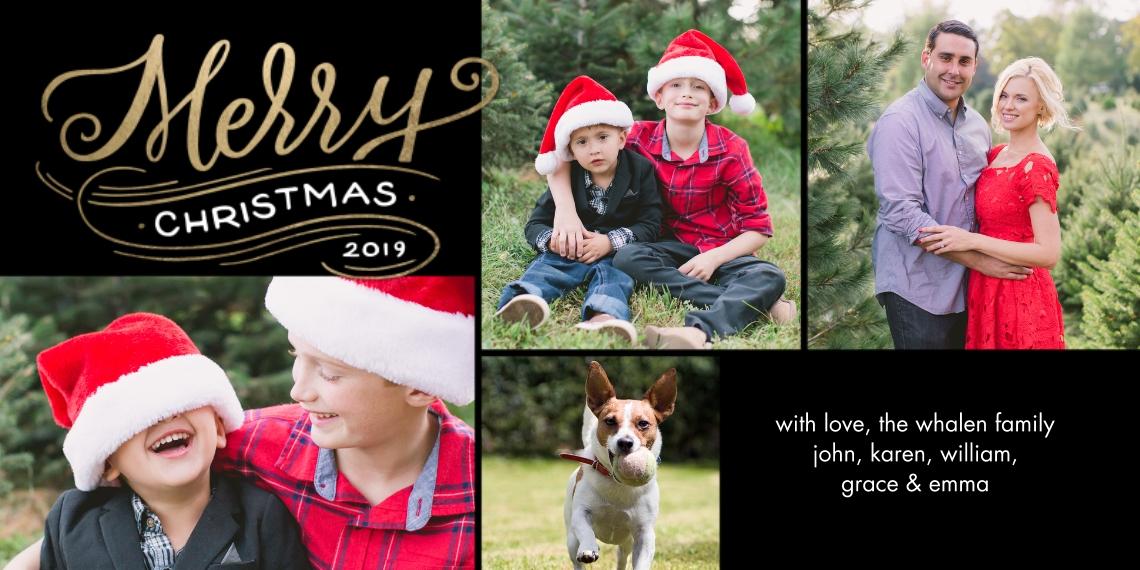 Christmas Photo Cards 4x8 Flat Card Set, 85lb, Card & Stationery -2019 Christmas Merry Modern by Tumbalina