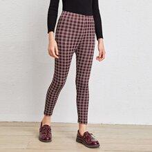 Leggings mit elastischer Taille und Karo Muster