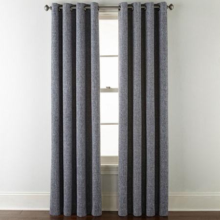 JCPenney Home Sullivan Blackout Grommet-Top Single Curtain Panel, One Size , Blue