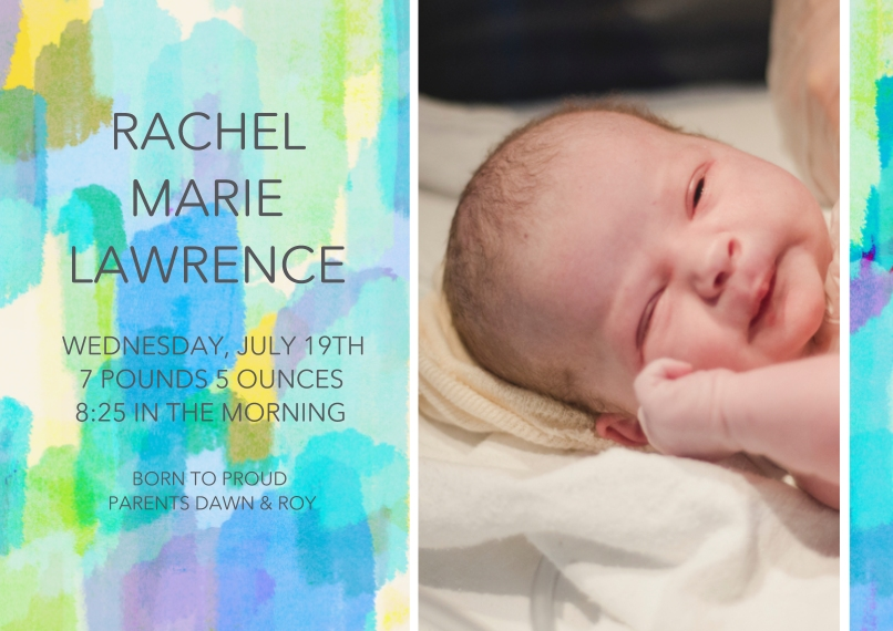 Baby Announcements 5x7 Cards, Standard Cardstock 85lb, Card & Stationery -Paint Stroke Sunrise