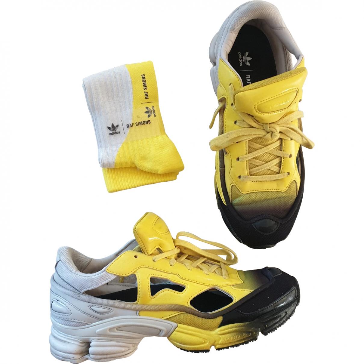 Adidas X Raf Simons Replicant Owzeego Sneakers in  Gelb Leinen