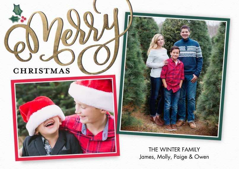 Christmas Photo Cards Flat Glossy Photo Paper Cards with Envelopes, 5x7, Card & Stationery -Christmas Merry Frames by Tumbalina