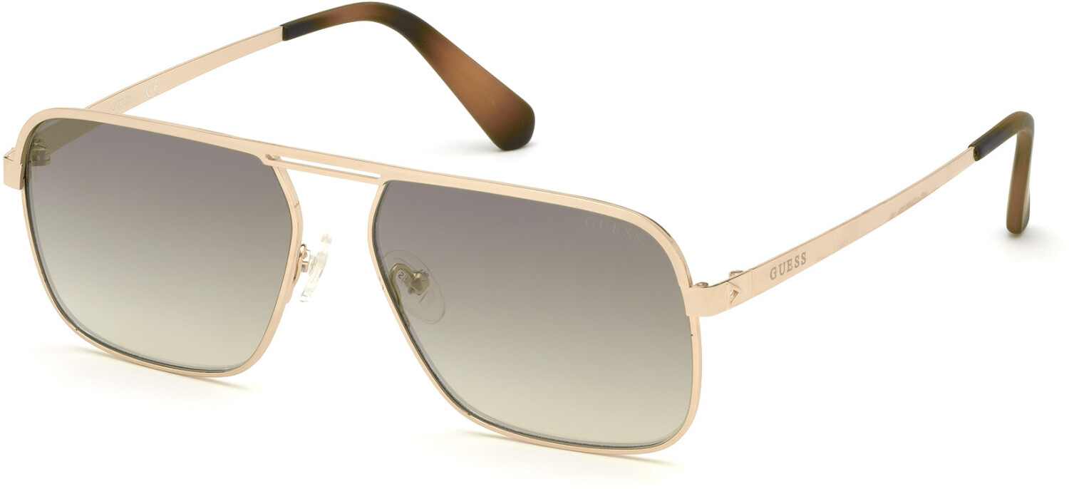 Guess Men's Mirrored Gu6939 GU6939-32P-58 Gold Rectangle Sunglasses