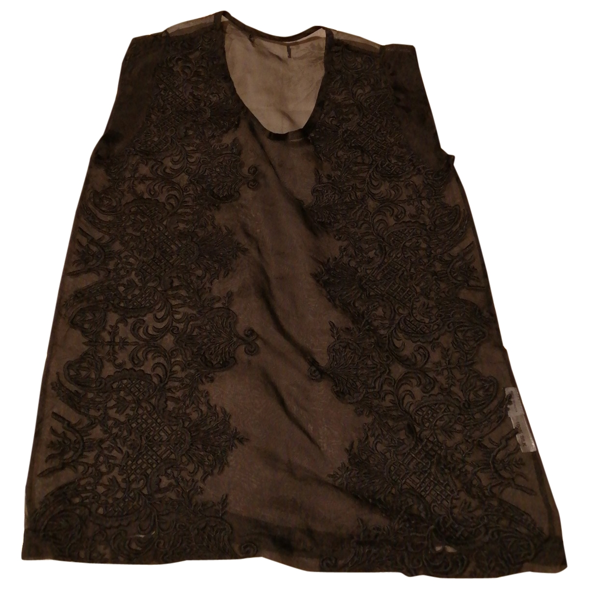 Non Signé / Unsigned \N Black Silk  top for Women 32 FR
