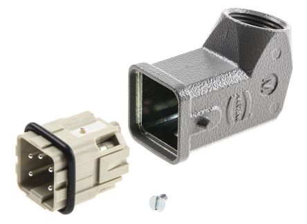HARTING Heavy Duty Power Connector, Han A 4 Way Male 10A Connector Kit, includes Hood, Insert
