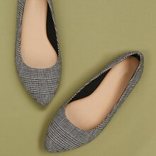 Plaid Wide Fit Point Toe Ballet Flat Shoes
