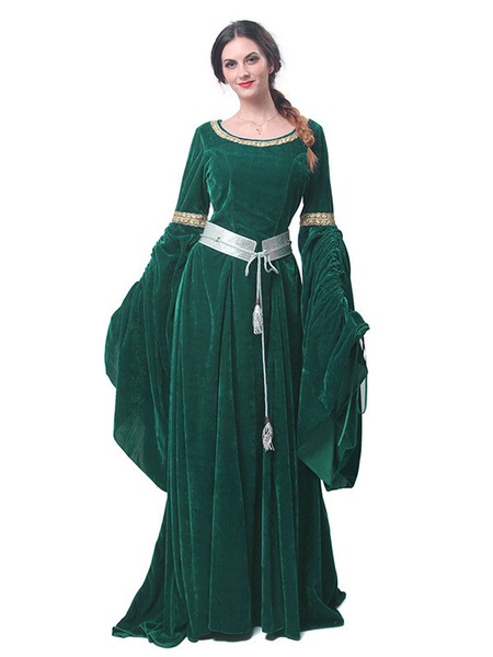 Milanoo Medieval Renaissance Costume Dress Retro Long Trumpet sleeve Velour Women Gothic Victorian era Clothing Gown retro Costume Halloween
