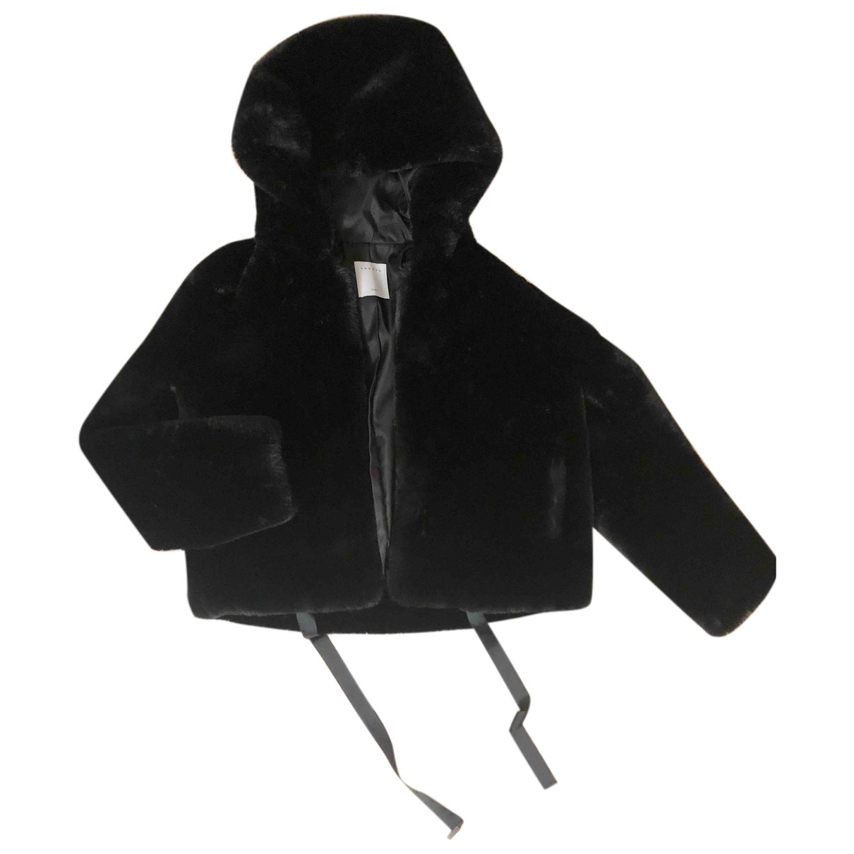 Sandro Fall Winter 2019 Black Faux fur coat for Women 36 FR