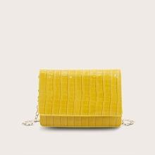 Croc Embossed Chain Crossbody Bag