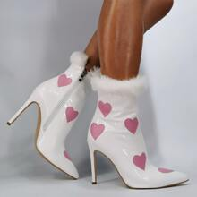 Christmas Heart Graphic Stiletto Heeled Boots