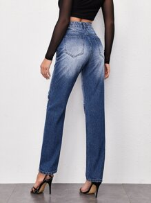 Ripped Detail Straight Leg Jeans
