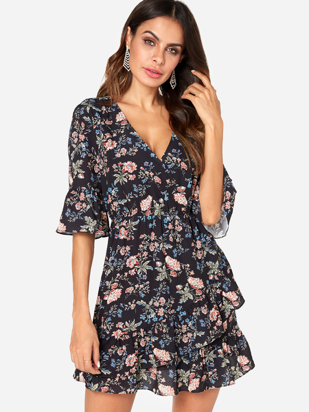 Yoins Black Ransom Floral Print V-neck Bell Sleeves Stretch Waistband Wrap Dress