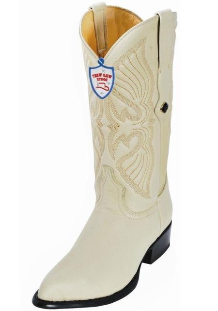 Men's Handcrafted Genuine Elk Leather Cream J Toe Style Heel Boots
